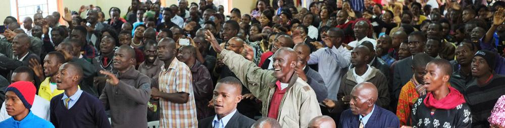 crowd praising God